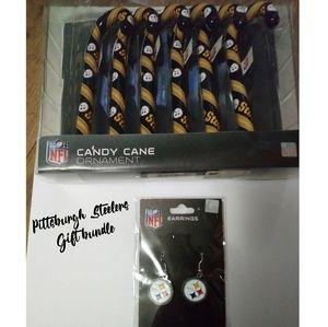 🏈 Pittsburgh Steelers Earrings & Ornament bundle